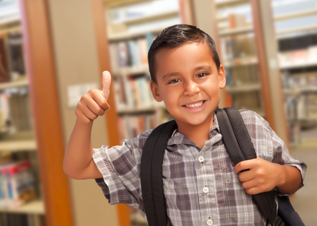 ELD student with thumbs up