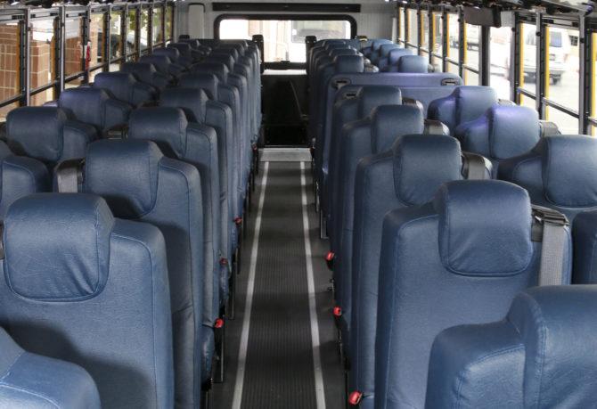 Inside view of seats on KCSOS school bus