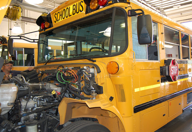 Engine of KCSOS school bus